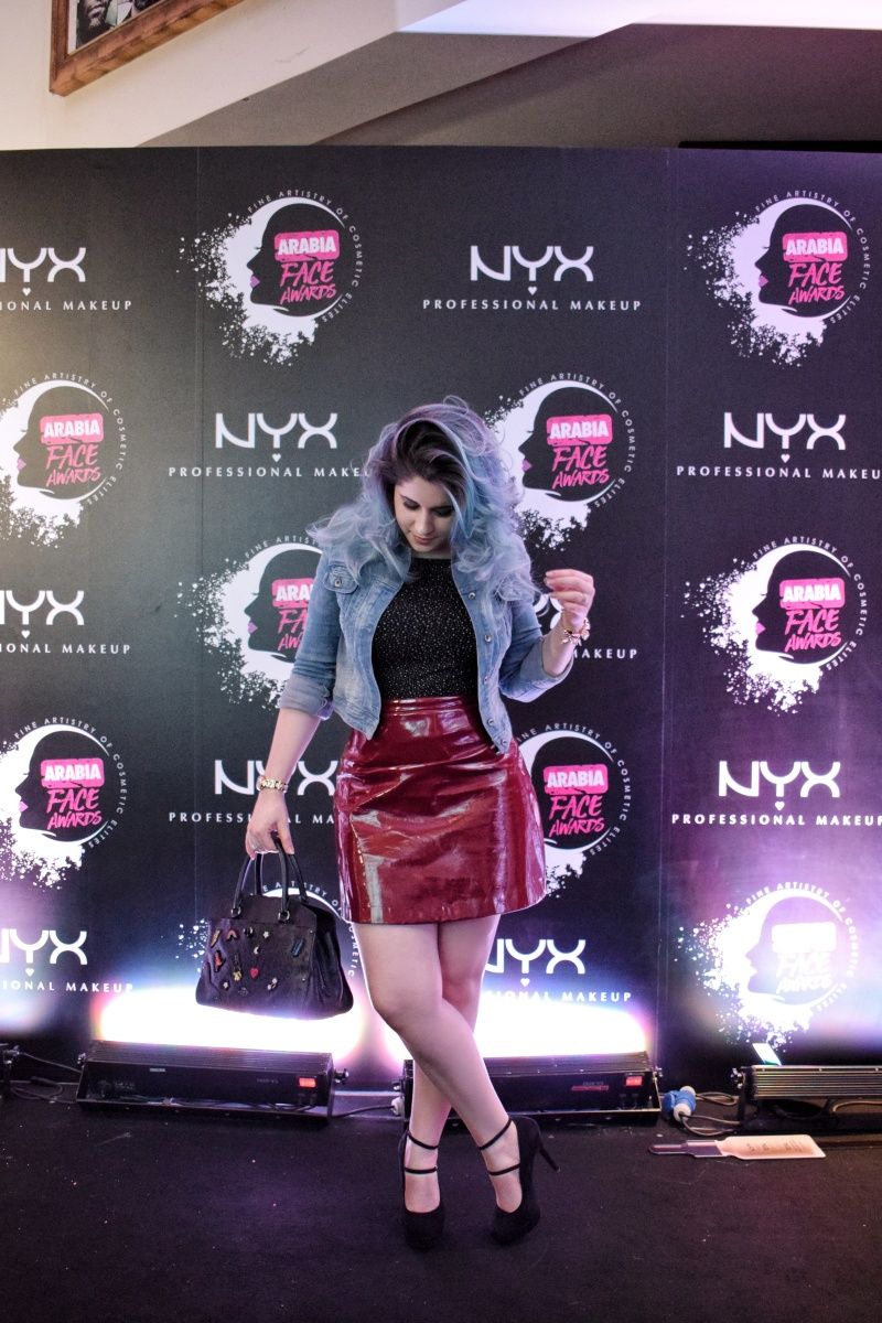 OOTD: plastic skirt at the NYX Arabia Face Awards